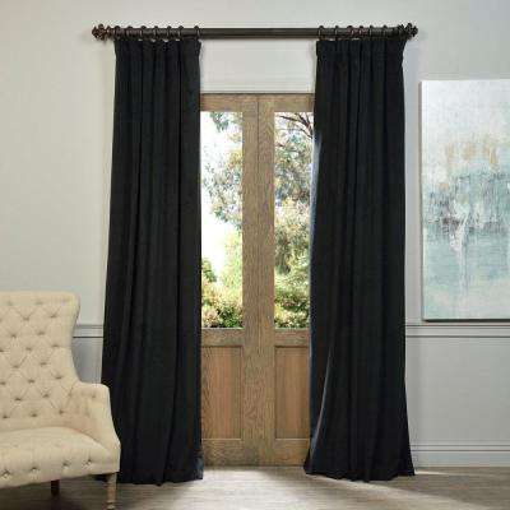 Blackout Signature Warm Black Velvet Curtain