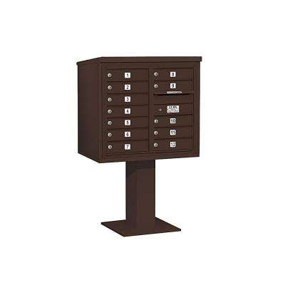 3400 Series 55-1/8 in. 7 Door High Unit Bronze 4C Pedestal Mailbox with 12 MB1 Doors