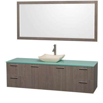 Amare 72 in. Vanity in Grey Oak with Glass Vanity Top in Aqua and Ivory Marble Sink