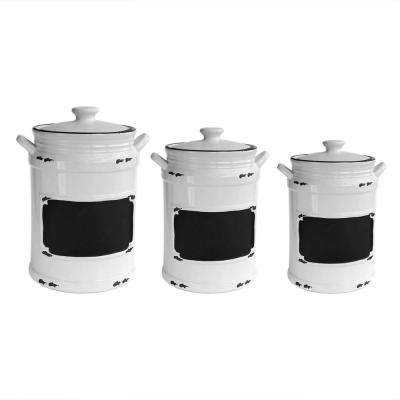 Vintage 3-Piece White/Black Ceramic Canister Set with Lid