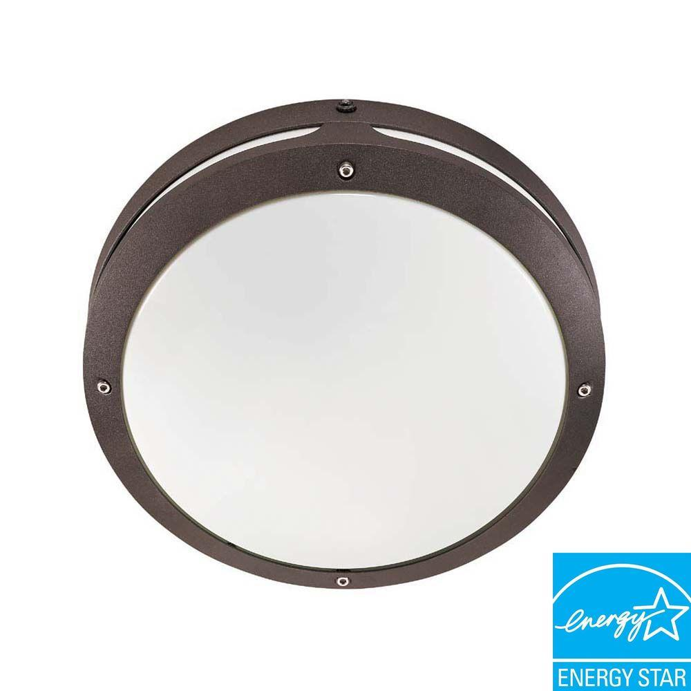 Glomar Wall/Ceiling 2-Light Outdoor Architectural Bronze Round Fixture