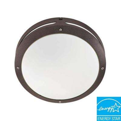 Wall/Ceiling 2-Light Outdoor Architectural Bronze Round Fixture