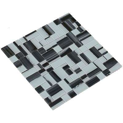 Stella/03, White with Black Overtones, 4 in. x 4 in. x 4 mm Glass Mesh-Mounted Mosaic Tile, Tile Sample