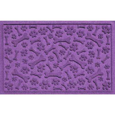 Purple 24 in. x 36 in. Paws and Bones Polypropylene Pet Mat