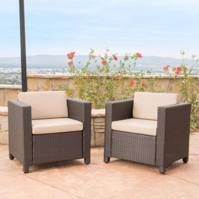Puerta Dark Brown Wicker Outdoor Club Lounge Chairs with Beige Cushions (2-Pack)