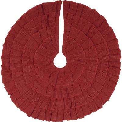 21 in. Red Festive Burlap Farmhouse Christmas Decor Ruffled Mini Tree Skirt