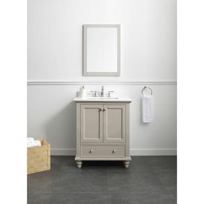 Orillia 30 in. W x 22 in. D Vanity in Greige with Marble Vanity Top in White with White Sink