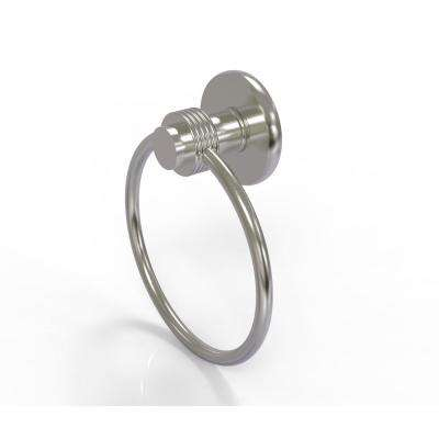 Mercury Collection Towel Ring with Groovy Accent in Satin Nickel