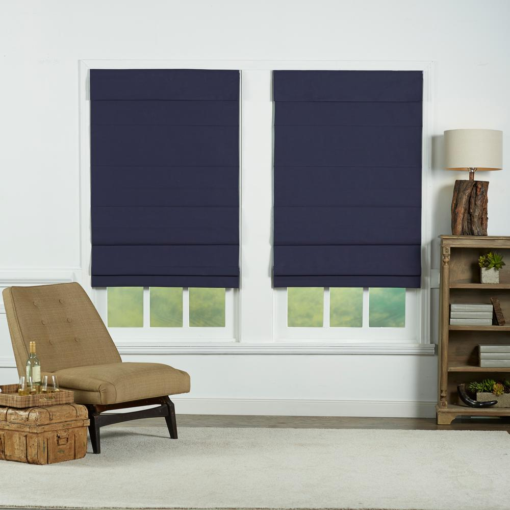 Perfect Lift Window Treatment Navy Insulating Cordless Cotton Roman Shade 29 In W X