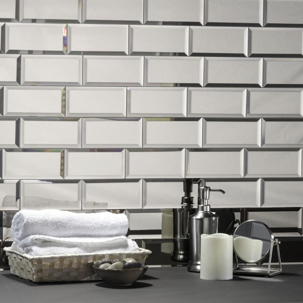 Abolos Echo 3 In X 6 In Silver Glass Mirror Peel And Stick - Glass-tile-backsplash-pictures-collection