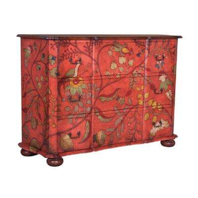 Duchess 3-Drawer Red Floral Chest