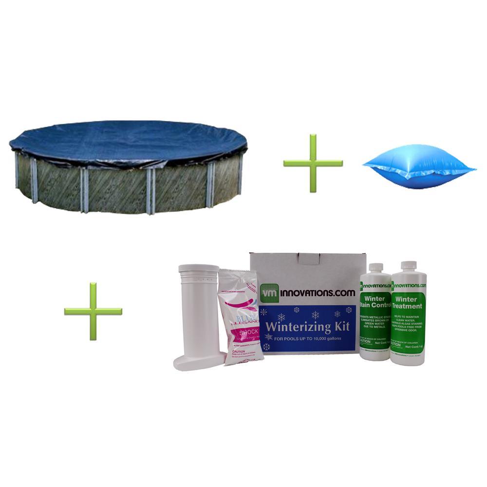 Swimline 18 ft. Round Swimming Pool Cover Plus 4 ft. x 4 ft. Closing Pillow Plus Winterizing Kit