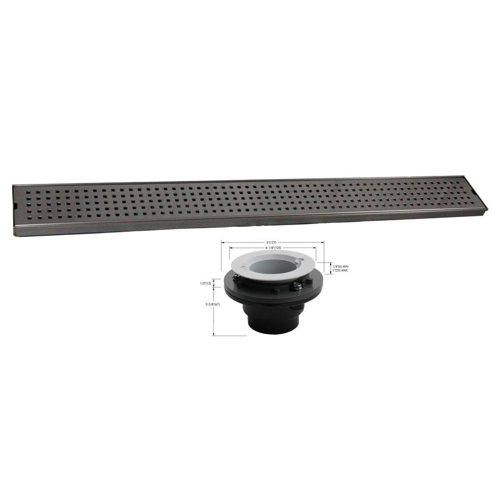 Geotop Linear Shower Drain 54 in. L in Brushed Satin Stainless