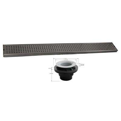 Geotop Linear Shower Drain 54 in. L in Brushed Satin Stainless Steel