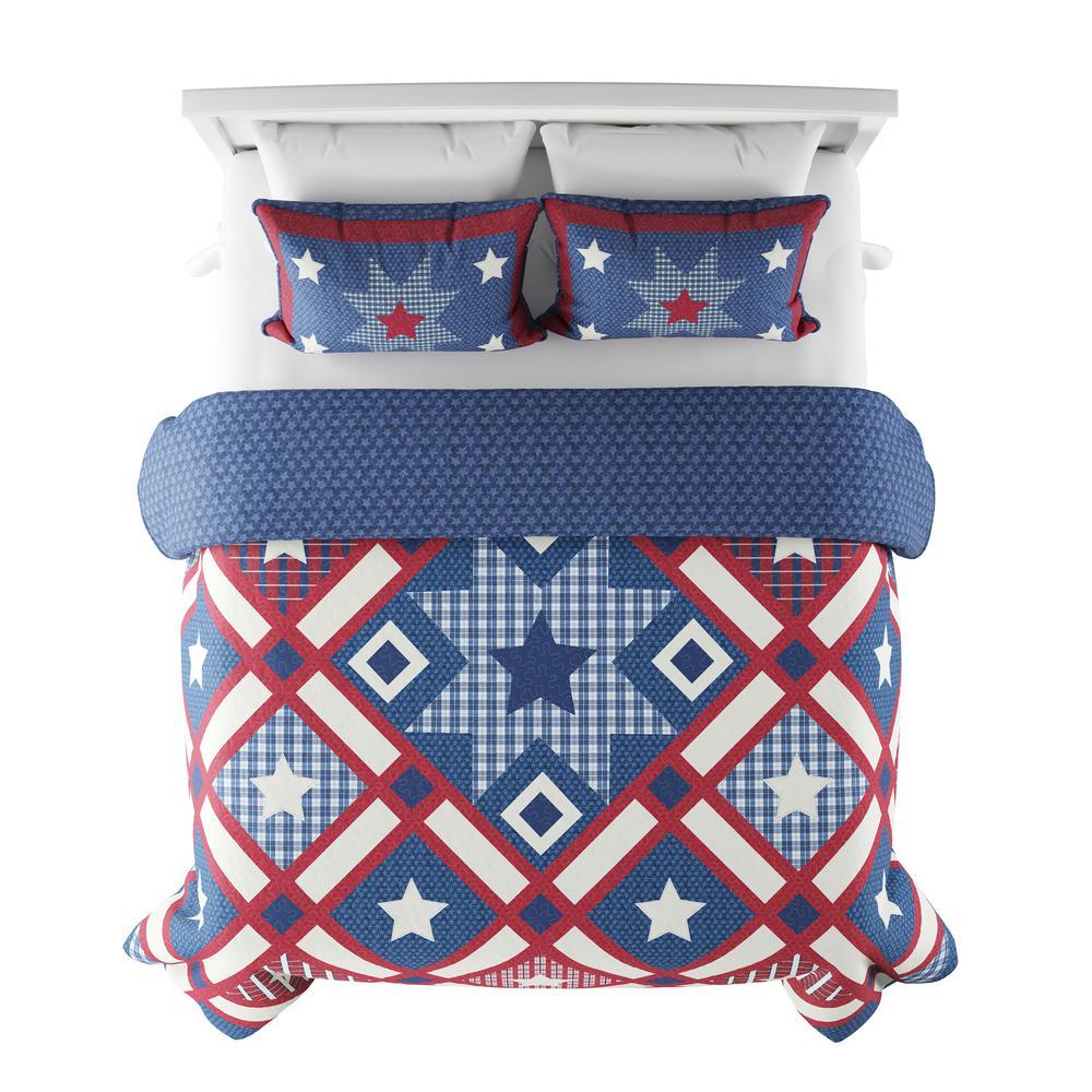 3-Piece Homestead Americana Full/Queen Hypoallergenic Down Alternative Quilt Bedspread Set