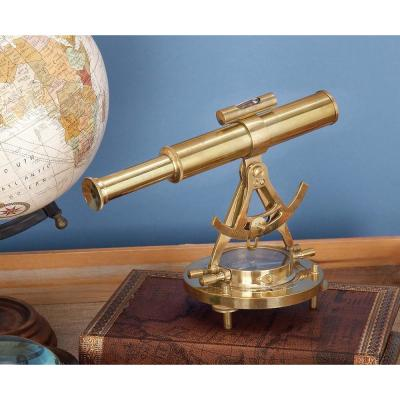 8 in. Telescope Compass Decorative Statue in Polished Brass