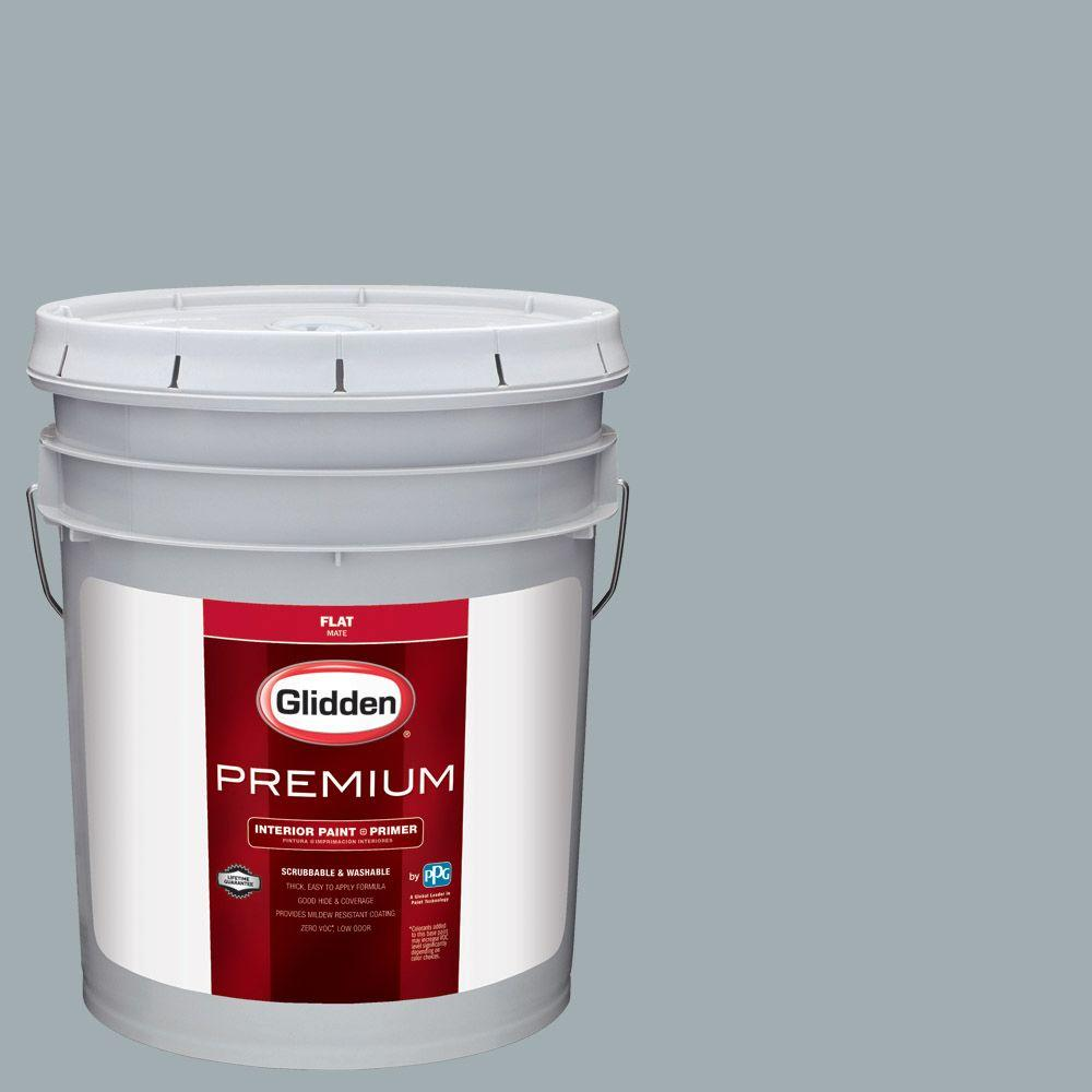 Glidden Premium 5 Gal Hdgcn33 Winter Sky Grey Flat Interior Paint With Primer