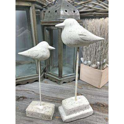 Cement Bird Sculpture with Large Stand