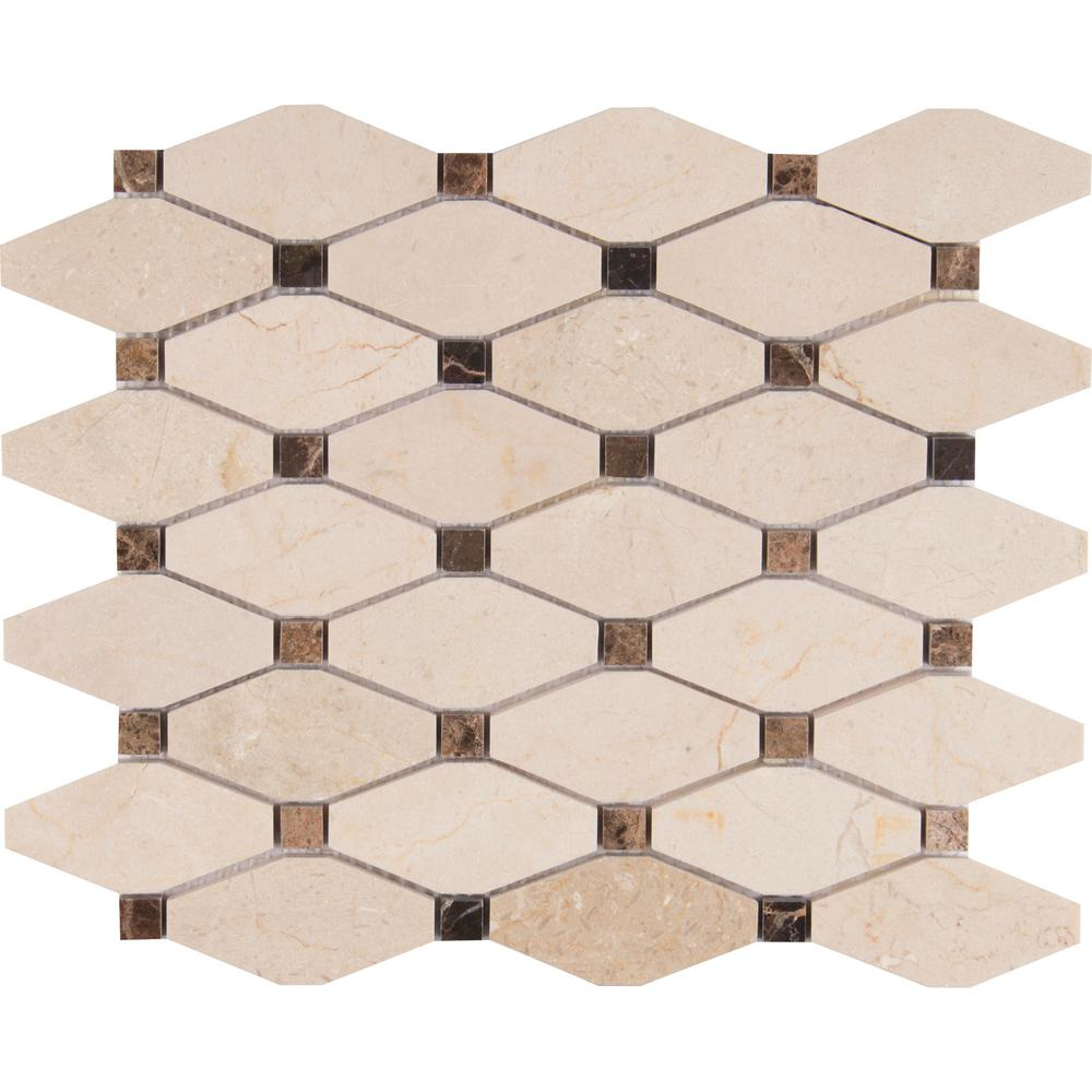 MSI Valencia Blend Elongated Octagon 12 in. x 12 in. x 10 mm Polished Marble Mesh-Mounted Mosaic Tile (1 sq. ft.)