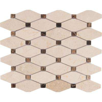 Valencia Blend Elongated Octagon 12 in. x 12 in. x 10 mm Polished Marble Mesh-Mounted Mosaic Tile (1 sq. ft.)
