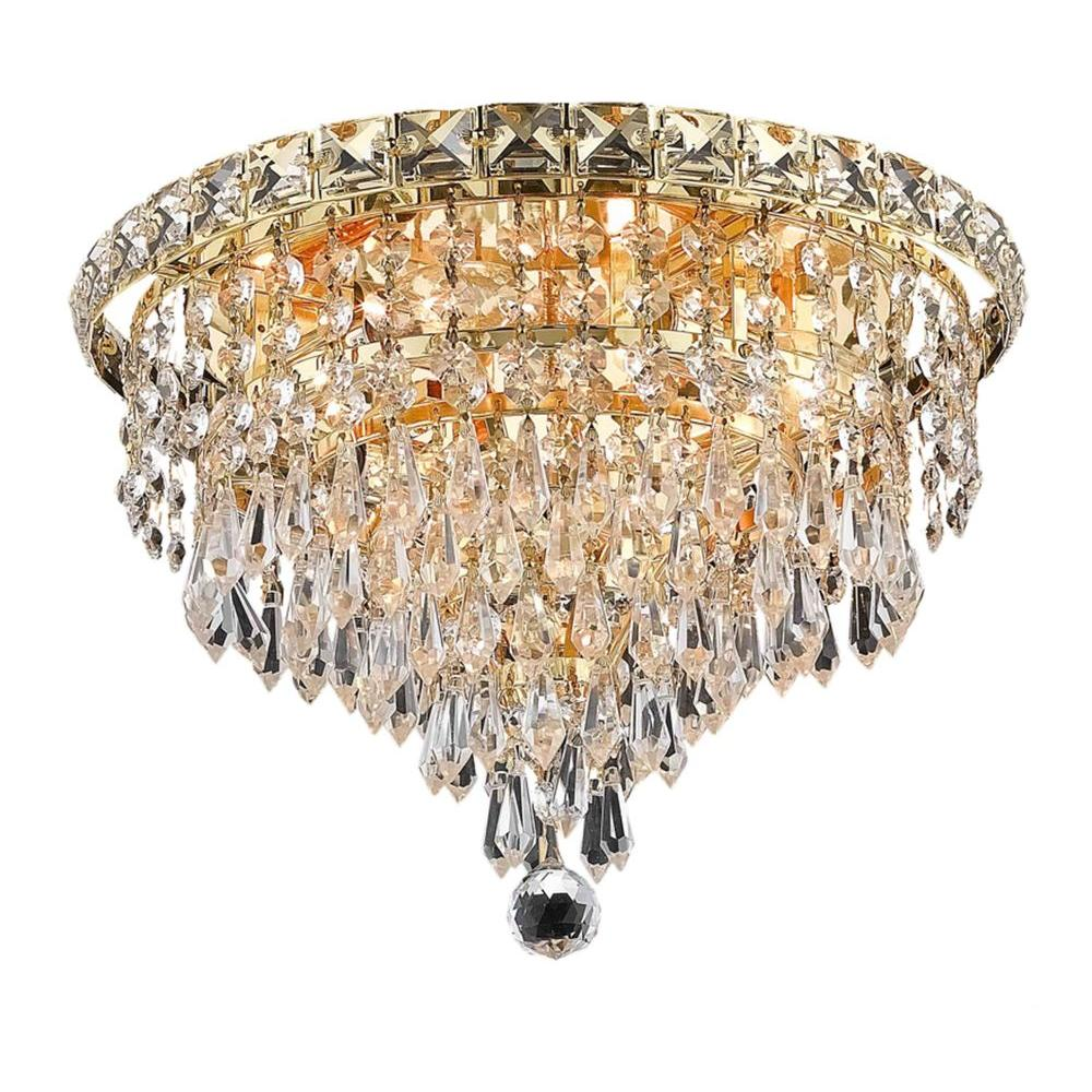Elegant Lighting 6-Light Gold Flushmount with Clear Crystal