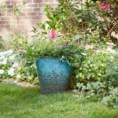 Peyton 14.6 in. x 13.4 in. Blue Patina Ceramic Planter
