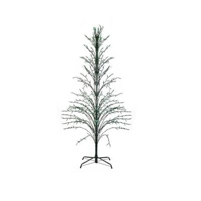 6 ft. Green Lighted Christmas Cascade Twig Tree Outdoor Yard Art Decoration Green Lights