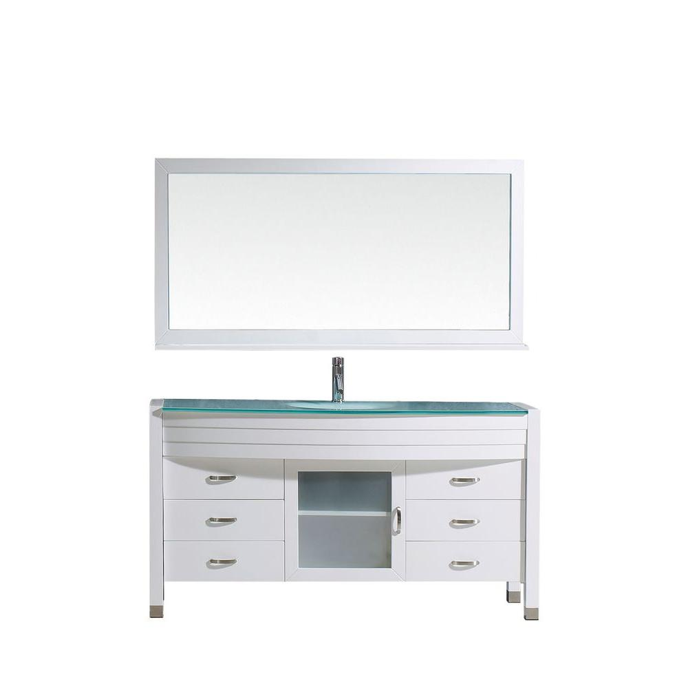 Virtu USA Ava 62 in. W Bath Vanity in White with Glass Vanity Top in Aqua Tempered Glass with Round Basin and Mirror and Faucet