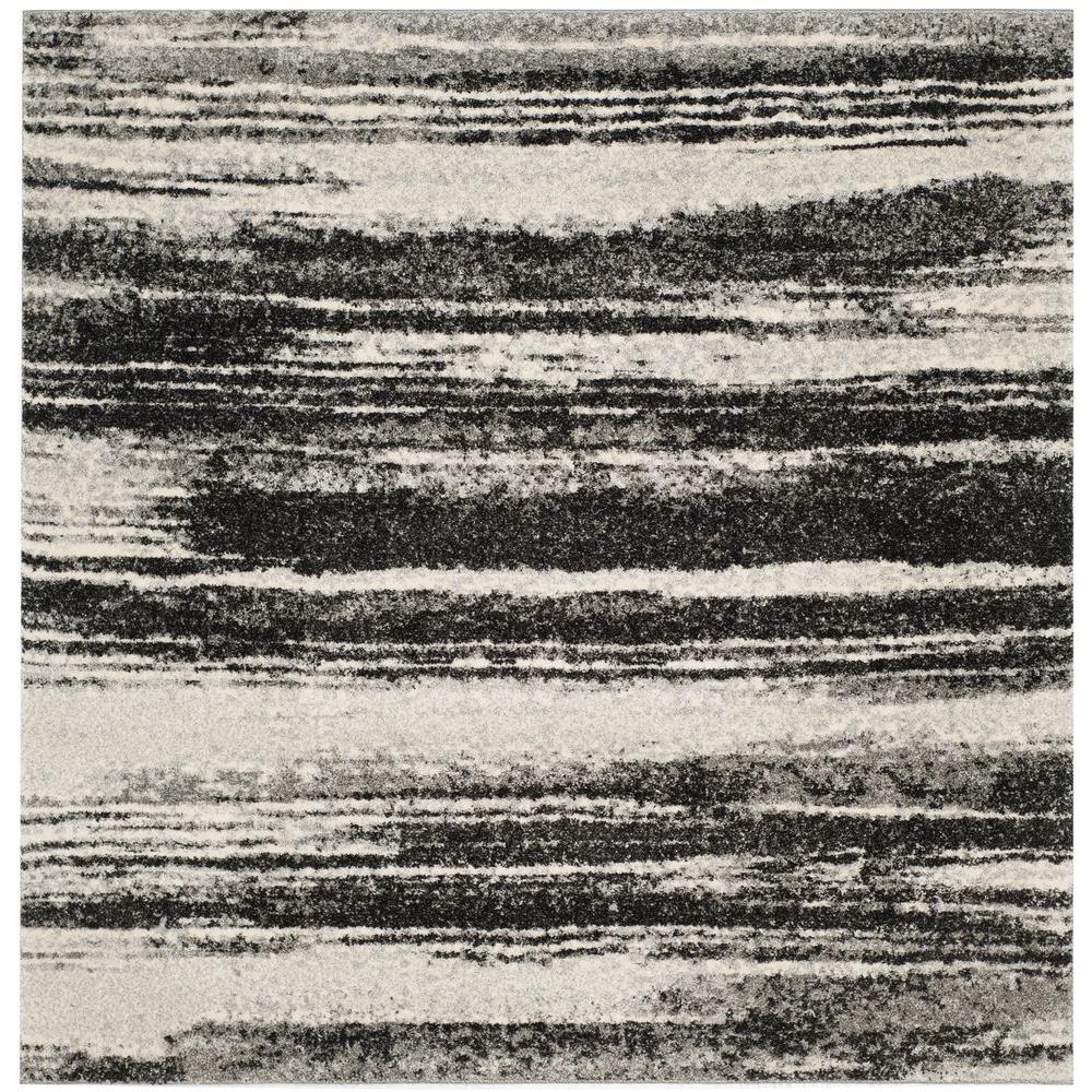 Retro Dark Grey/Light Grey 6 ft. x 6 ft. Square Area Rug
