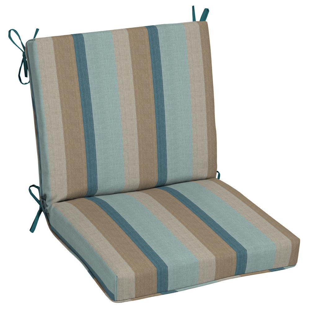 Oak Cliff 22 x 40 Sunbrella Gateway Mist Mid Back Outdoor Dining Chair Cushion