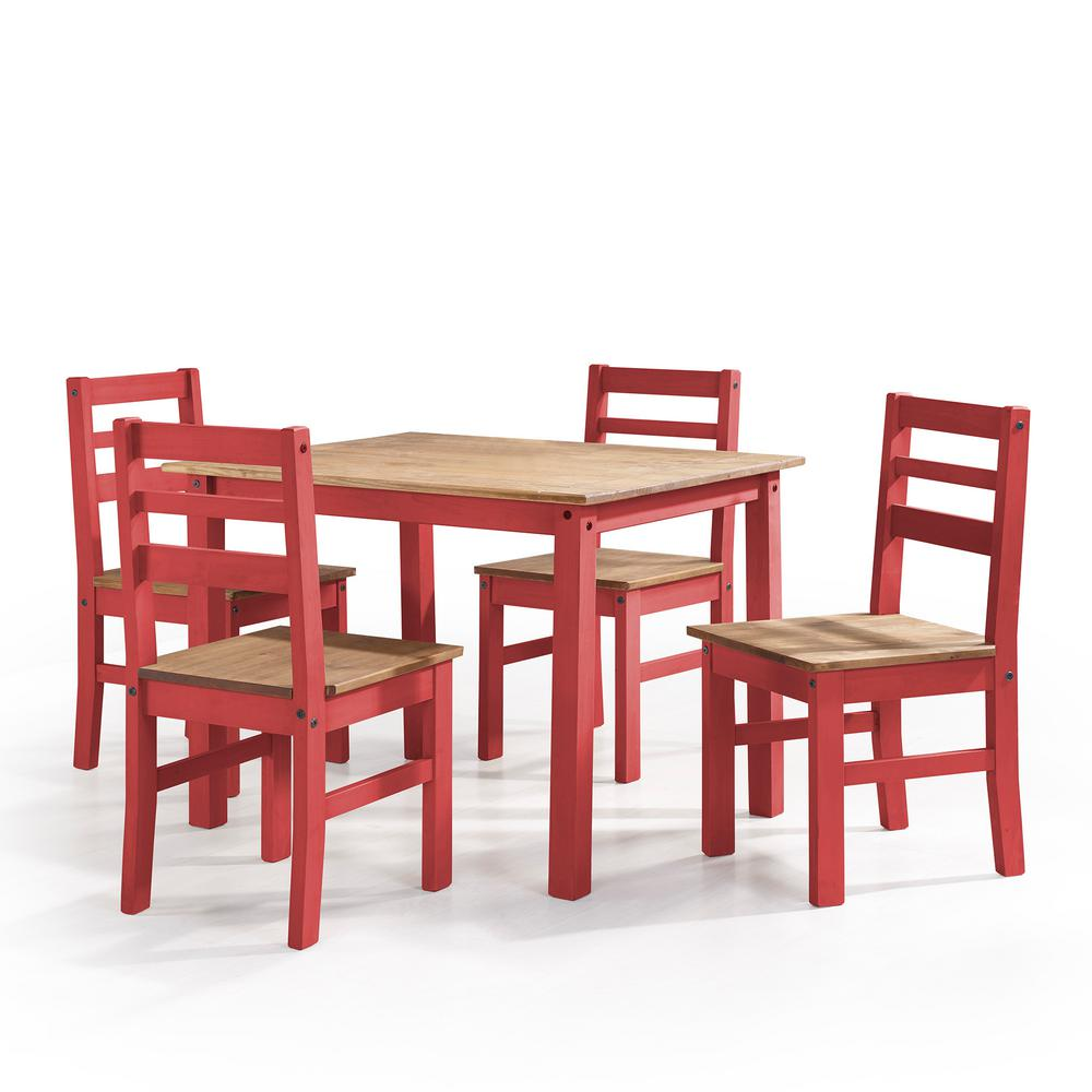 Manhattan Comfort Maiden 5-Piece Red Wash Solid Wood Dining Set ...