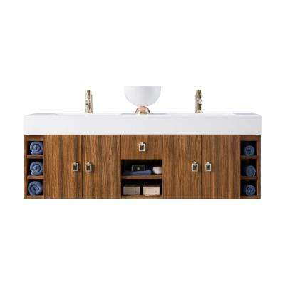 Tiburon 59 in. Double Bath Vanity in Natural Zebrano Wood with Solid Surface Vanity Top in Matte White with White Basin