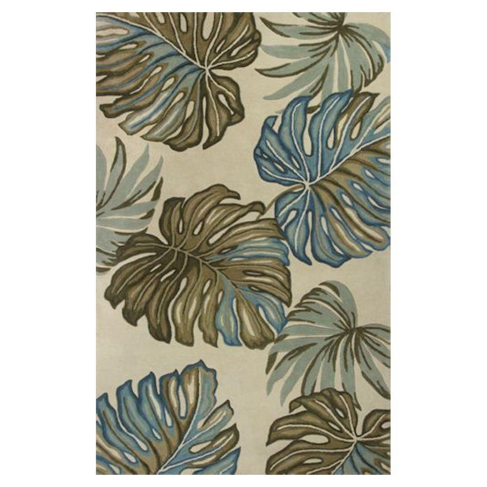 Kas Rugs Giant Fern Ivory/Blue 3 ft. 6 in. x 5 ft. 6 in. Area Rug