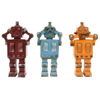 4.25 in. x 2.5 in. Multi-Colored Resin Robots in Multi-Colored (Set of 3)