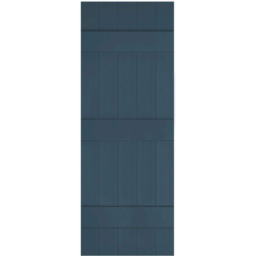 Ekena Millwork 17-1/2 in. x 88 in. Lifetime Vinyl Custom Five Board Joined Board and Batten Shutters Pair Classic Blue