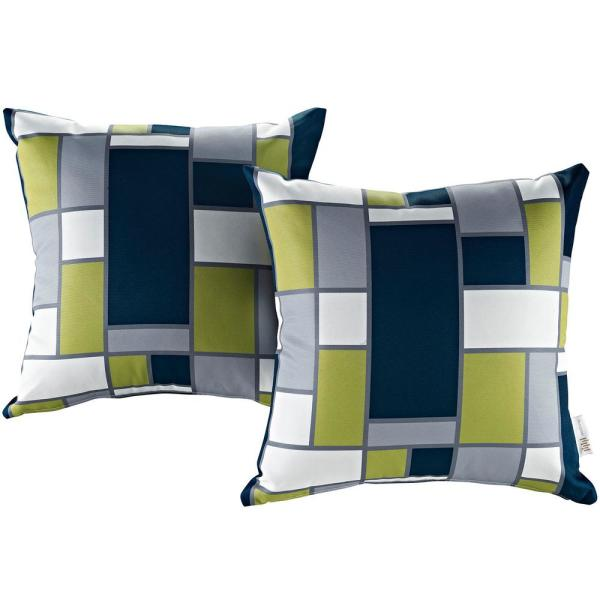 Patio Square Outdoor Throw Pillow Set in Rectangle (2-Piece)