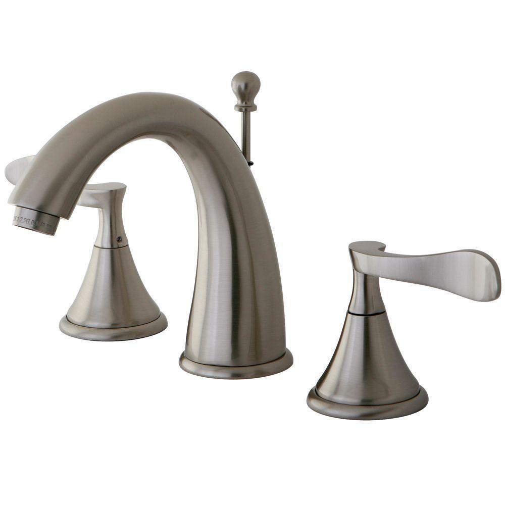 Modern 8 in. Widespread 2-Handle High-Arc Bathroom Faucet in Satin Nickel