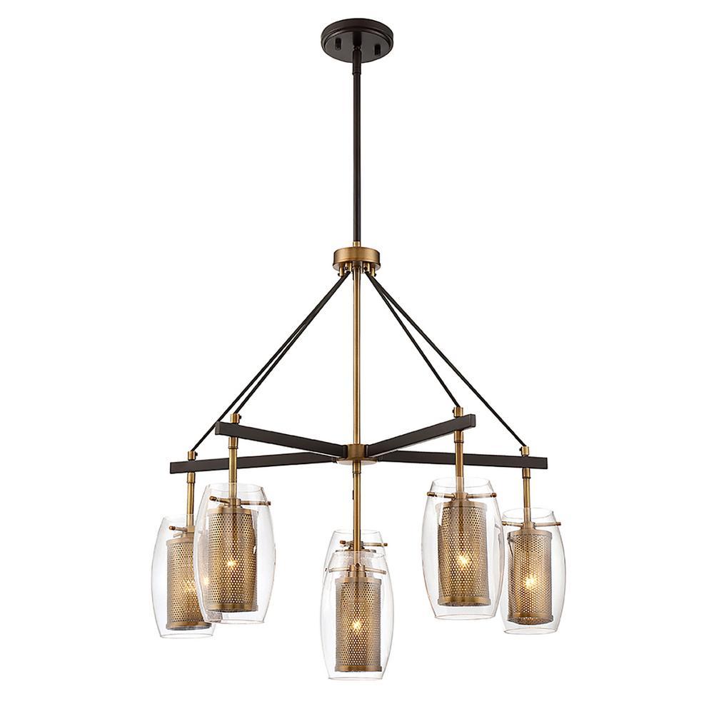 6 light warm brass chandelier