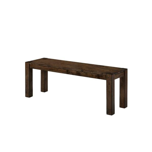 Transitional Style Brown Solid Wooden Bench with Trestle Style Base and Block Legs 14'' L X 54'' W X 18.75'' H