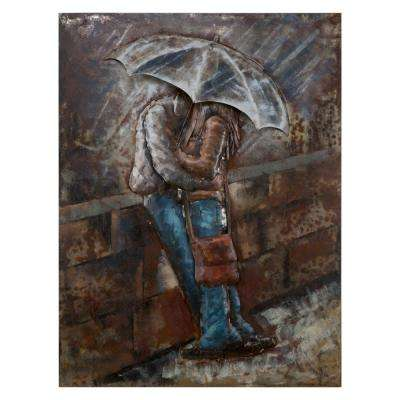 Romance in the Rain Iron Multi-Colored Metal Work