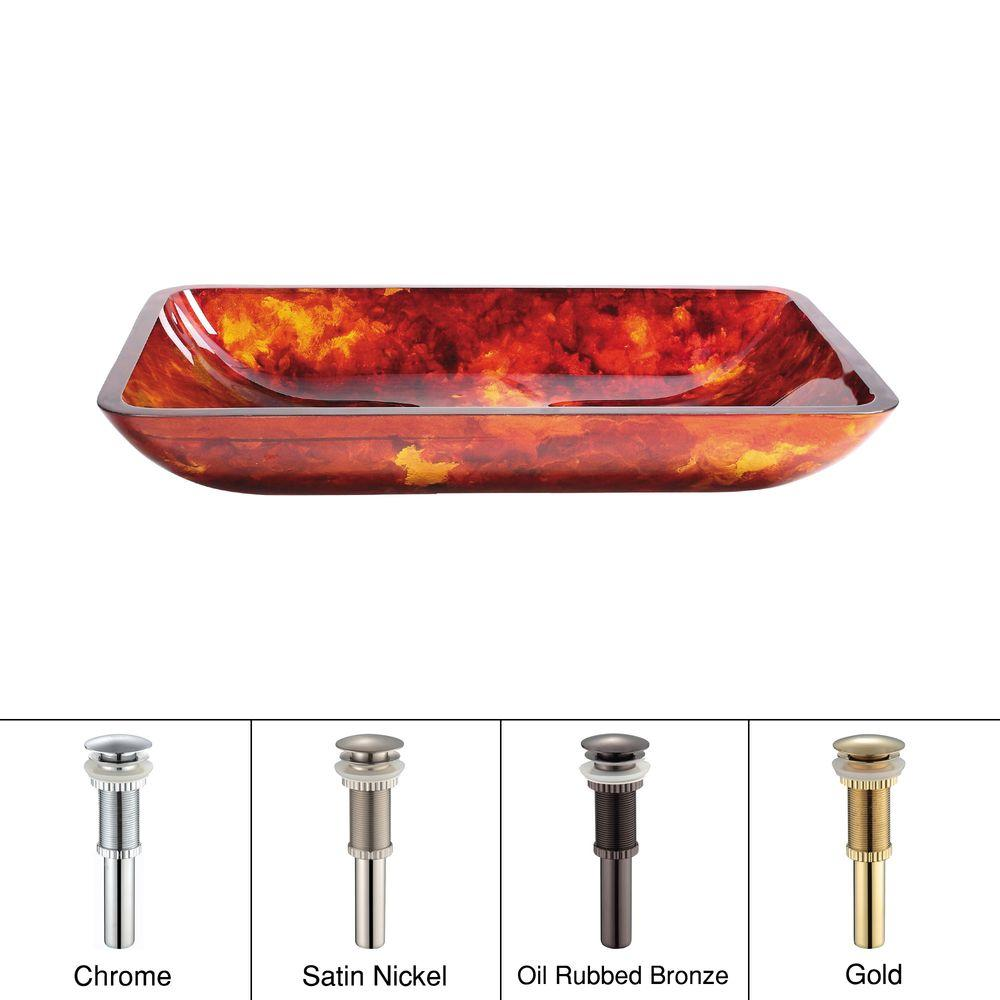 KRAUS Glass Vessel Sink in Fire Opal with Gold Pop up-DISCONTINUED