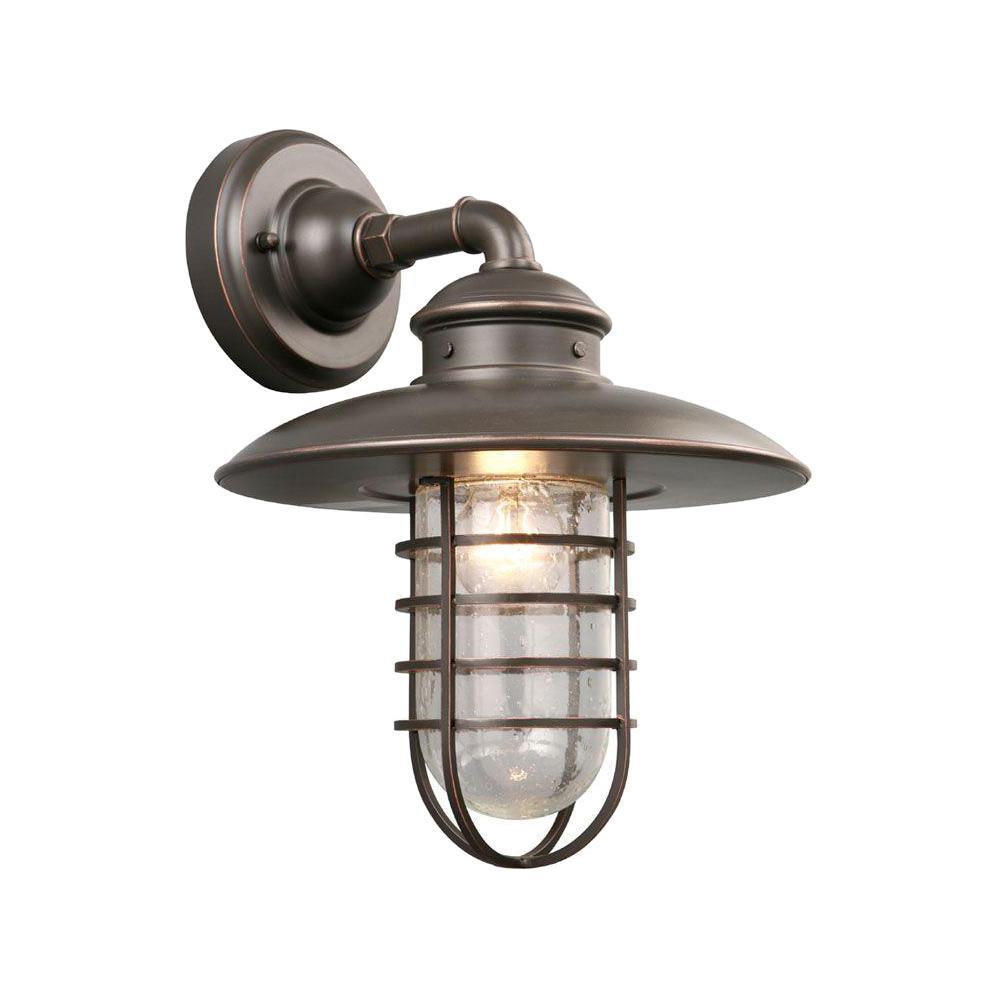 Hampton Bay 1-Light Oil-Rubbed Bronze Outdoor Wall Lantern Sconce