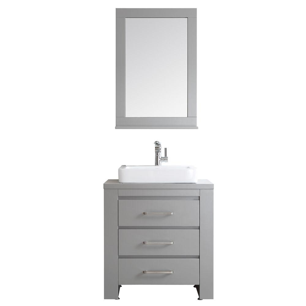Vinnova Pascara 30 In W X 21 In D Vanity In Grey With White Drop In Basin With Mirror 743030