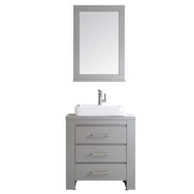 Pascara 30 in. W x 21 in. D Vanity in Grey with White Drop-in Basin with Mirror