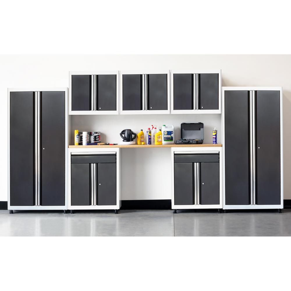 75 in. H x 162 in. W x 18 in. D Welded Steel Garage Cabinet Set in White/Charcoal (8-Piece)