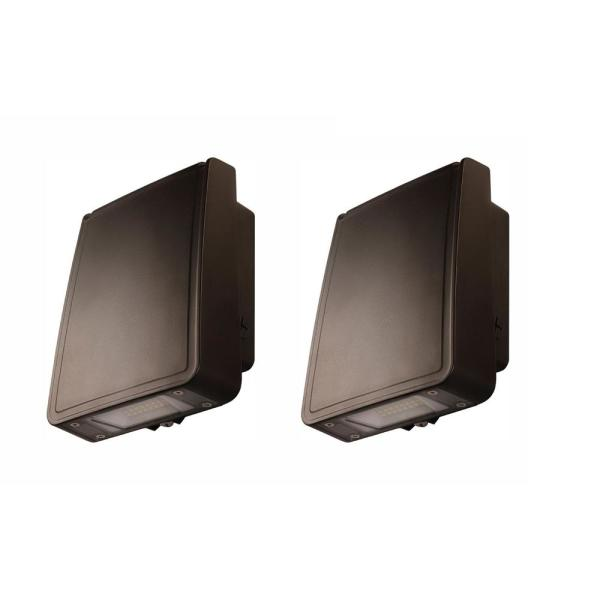Bright 15-Watt Integrated LED Wall Pack with 1600 Lumens, Outdoor Security Lighting (2-Pack)