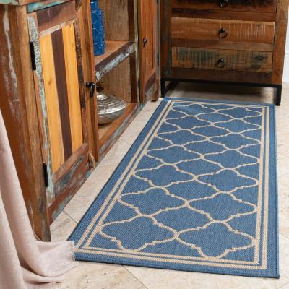 Jardin Collection Moroccan Trellis Design Natural Blue 3 ft. x 7 ft. Indoor/Outdoor Runner Rug