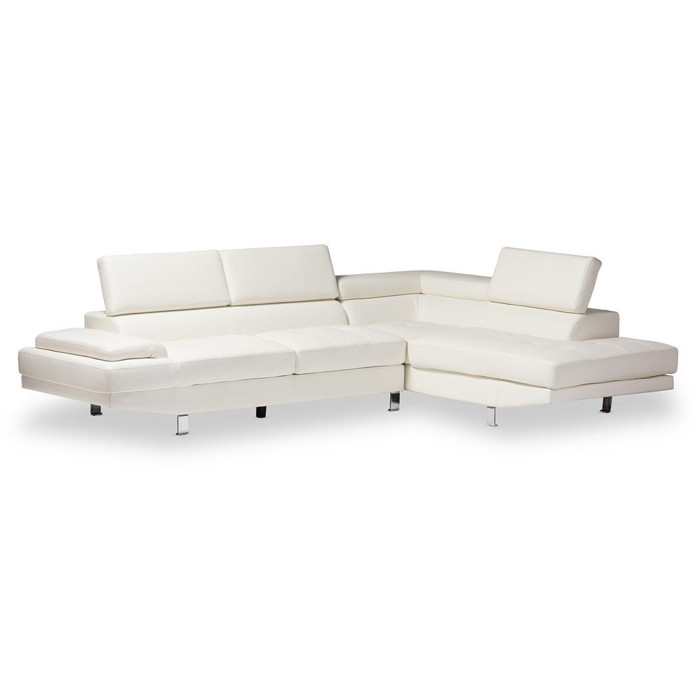 Baxton Studio Selma 2 Piece Modern White Faux Leather Upholstered Right  Facing Chase Sectional Sofa