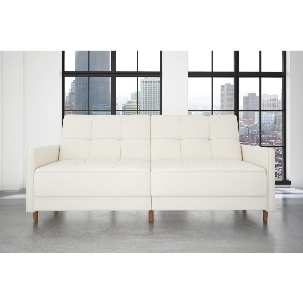 Andora Coil Twin/Double Size White Faux Leather Futon