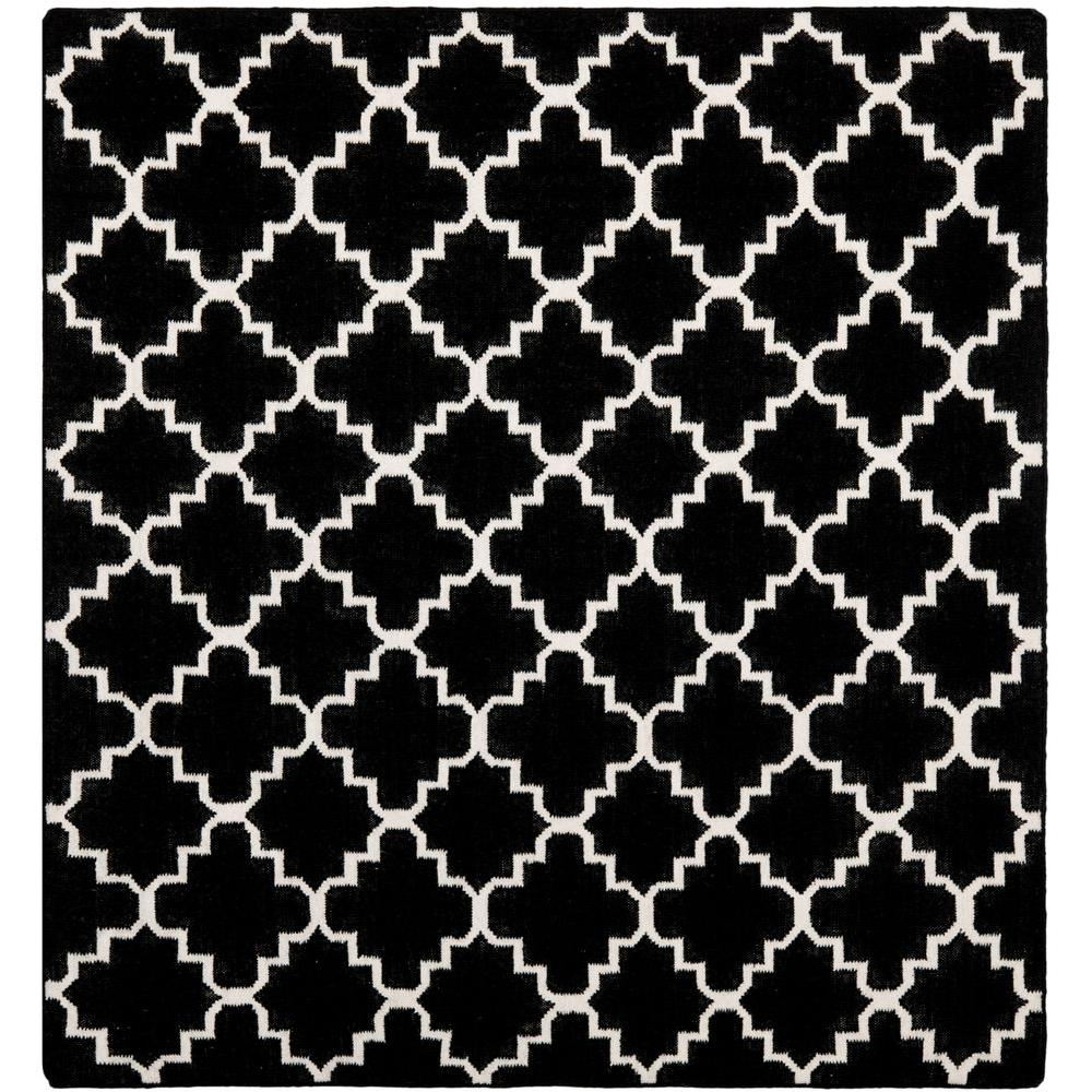 Dhurries Black/Ivory 8 ft. x 8 ft. Square Area Rug